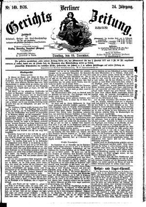 Berliner Gerichts-Zeitung vom 19.12.1876