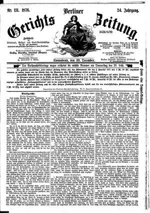Berliner Gerichts-Zeitung vom 23.12.1876