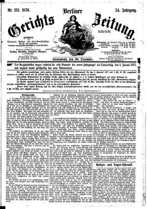Berliner Gerichts-Zeitung vom 30.12.1876