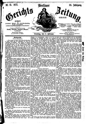 Berliner Gerichts-Zeitung vom 06.02.1877