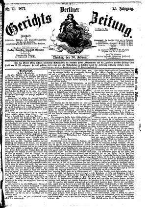 Berliner Gerichts-Zeitung vom 20.02.1877