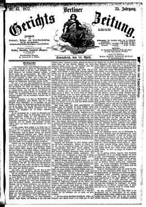 Berliner Gerichts-Zeitung vom 14.04.1877