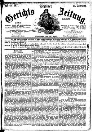 Berliner Gerichts-Zeitung vom 28.04.1877