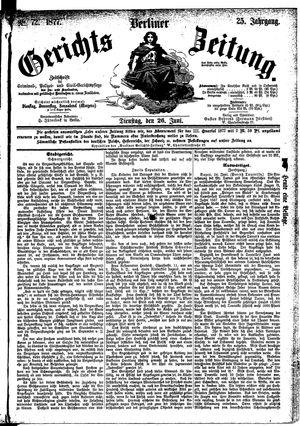 Berliner Gerichts-Zeitung vom 26.06.1877
