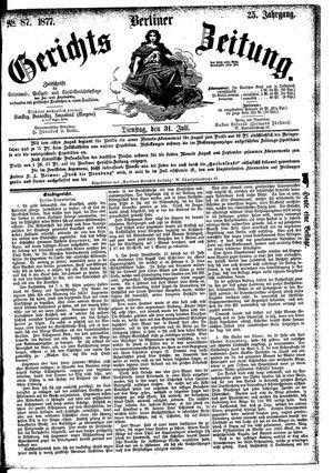 Berliner Gerichts-Zeitung vom 31.07.1877