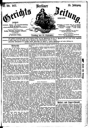 Berliner Gerichts-Zeitung vom 18.09.1877