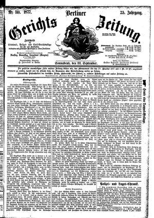Berliner Gerichts-Zeitung vom 22.09.1877
