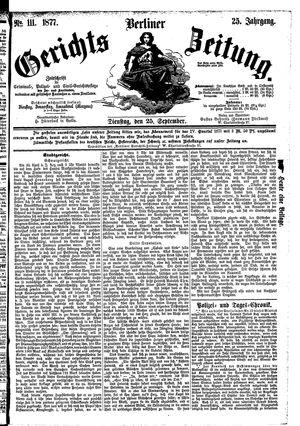 Berliner Gerichts-Zeitung vom 25.09.1877