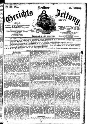 Berliner Gerichts-Zeitung vom 29.09.1877