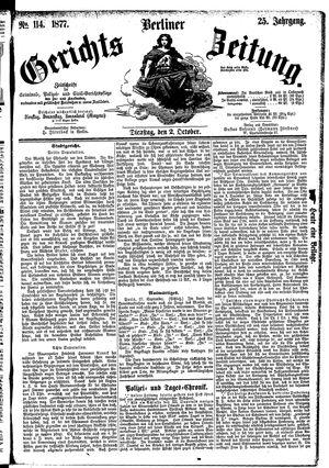 Berliner Gerichts-Zeitung vom 02.10.1877