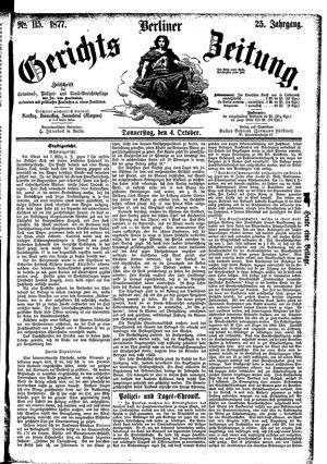 Berliner Gerichts-Zeitung vom 04.10.1877