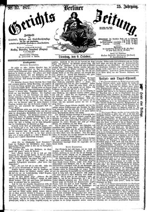 Berliner Gerichts-Zeitung vom 09.10.1877