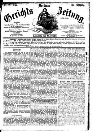 Berliner Gerichts-Zeitung vom 18.10.1877