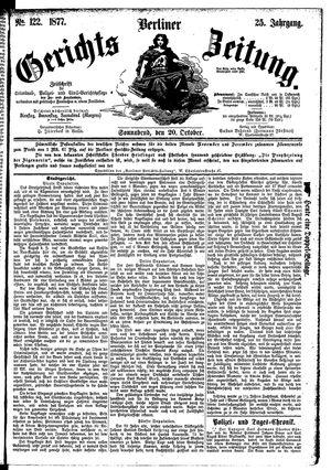 Berliner Gerichts-Zeitung vom 20.10.1877