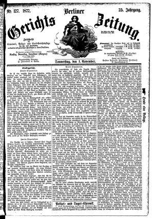 Berliner Gerichts-Zeitung vom 01.11.1877