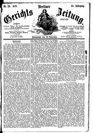 Berliner Gerichts-Zeitung vom 10.11.1877