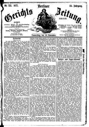 Berliner Gerichts-Zeitung vom 15.11.1877