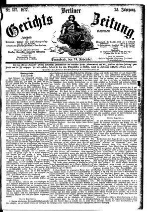 Berliner Gerichts-Zeitung vom 24.11.1877