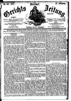 Berliner Gerichts-Zeitung vom 27.11.1877