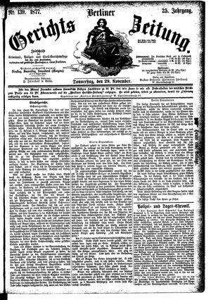 Berliner Gerichts-Zeitung vom 29.11.1877
