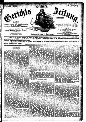 Berliner Gerichts-Zeitung vom 01.12.1877