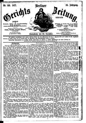 Berliner Gerichts-Zeitung vom 22.12.1877