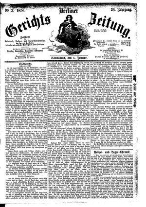 Berliner Gerichts-Zeitung vom 05.01.1878