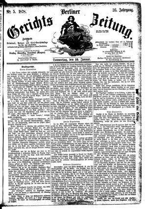 Berliner Gerichts-Zeitung vom 10.01.1878
