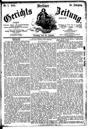 Berliner Gerichts-Zeitung vom 15.01.1878