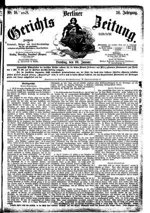 Berliner Gerichts-Zeitung vom 22.01.1878