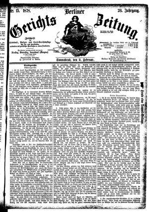 Berliner Gerichts-Zeitung vom 02.02.1878