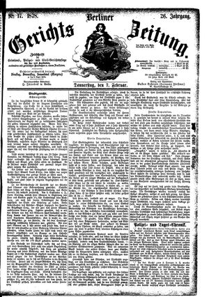 Berliner Gerichts-Zeitung vom 07.02.1878