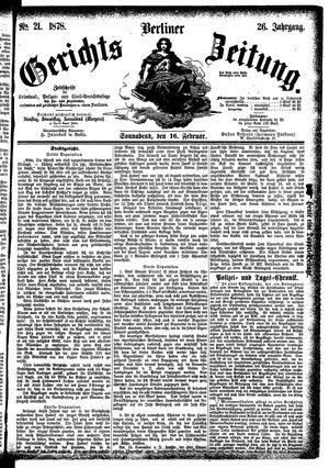 Berliner Gerichts-Zeitung vom 16.02.1878