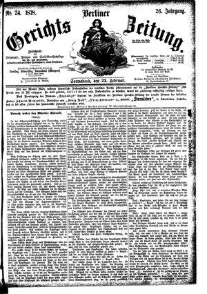Berliner Gerichts-Zeitung vom 23.02.1878