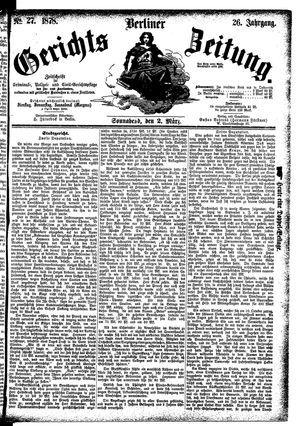 Berliner Gerichts-Zeitung vom 02.03.1878
