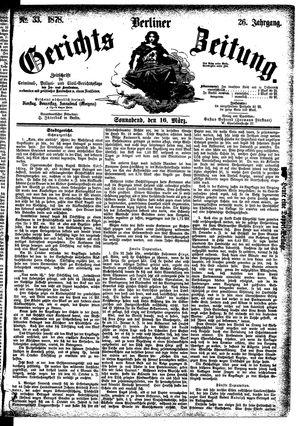 Berliner Gerichts-Zeitung vom 16.03.1878