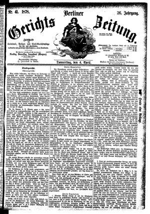 Berliner Gerichts-Zeitung vom 04.04.1878