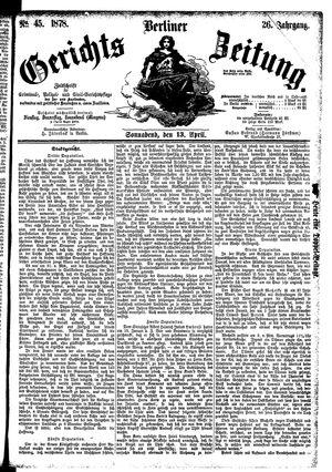 Berliner Gerichts-Zeitung vom 13.04.1878