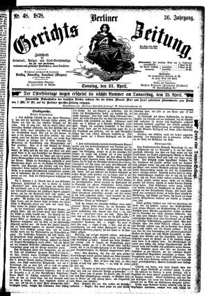 Berliner Gerichts-Zeitung vom 21.04.1878