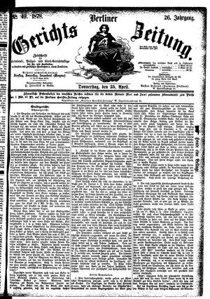 Berliner Gerichts-Zeitung vom 25.04.1878
