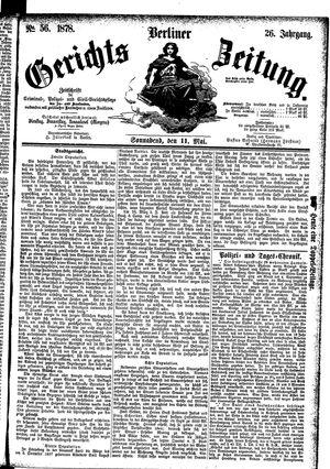Berliner Gerichts-Zeitung vom 11.05.1878