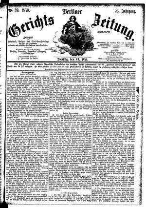 Berliner Gerichts-Zeitung vom 21.05.1878