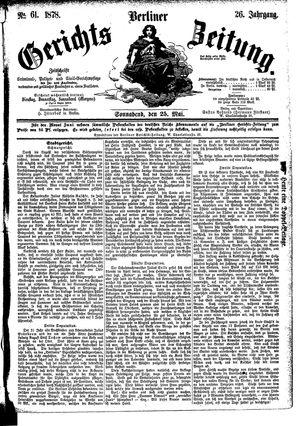 Berliner Gerichts-Zeitung vom 25.05.1878