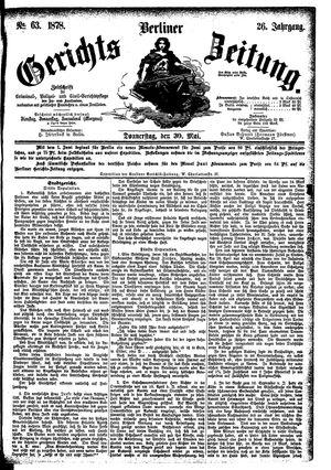 Berliner Gerichts-Zeitung vom 30.05.1878