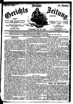 Berliner Gerichts-Zeitung vom 20.06.1878