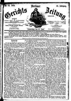 Berliner Gerichts-Zeitung vom 27.06.1878