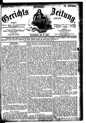 Berliner Gerichts-Zeitung vom 06.07.1878