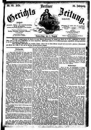 Berliner Gerichts-Zeitung vom 01.08.1878
