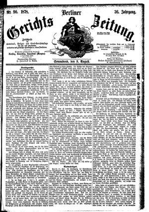 Berliner Gerichts-Zeitung vom 03.08.1878
