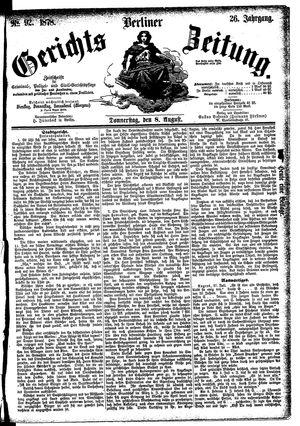 Berliner Gerichts-Zeitung vom 08.08.1878